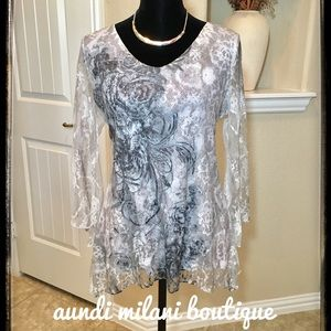 Tops - Black, white, gray, Lacy top